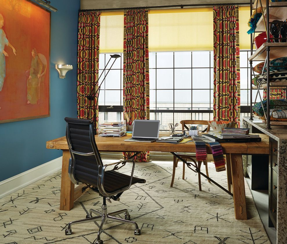 Nilson Homes for a Contemporary Home Office with a Area Rug and Modern Home Office by Budget Blinds