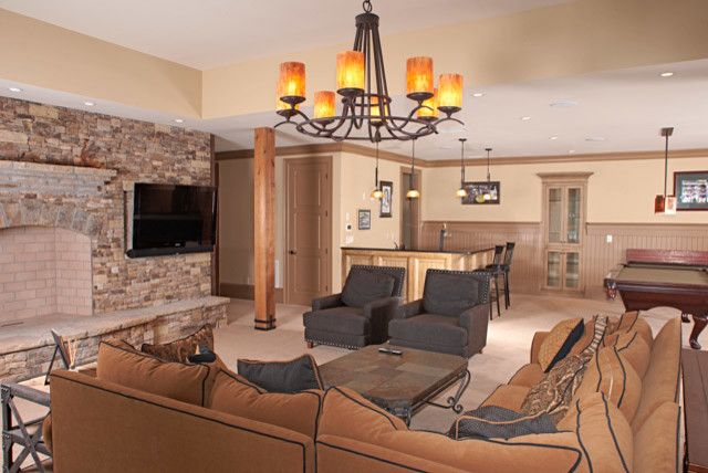 Norwood Furniture for a Rustic Basement with a Fireplace and Lake Lanier #1 by the Norwood Group