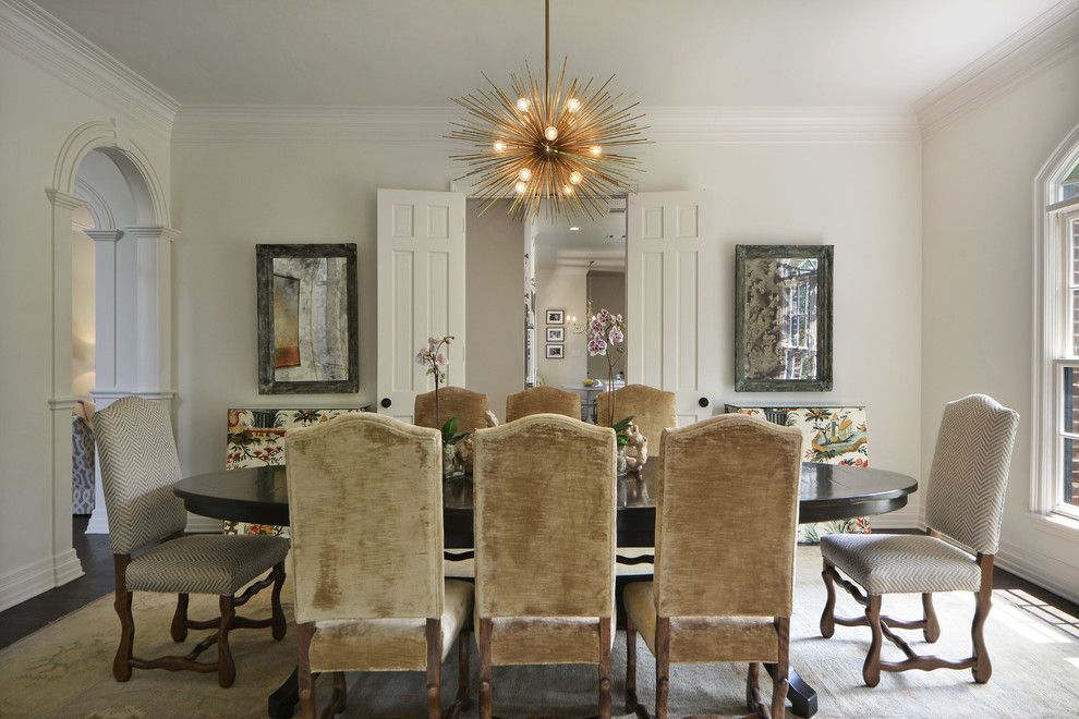 Norwood Furniture for a Traditional Dining Room with a Antique Oushak Rug and Green Cliffs Road by Fig Home