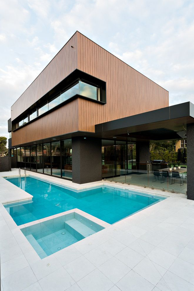 Nps Pool Supply for a Contemporary Exterior with a Large Windows and Mentone House by Jasmine McClelland Design