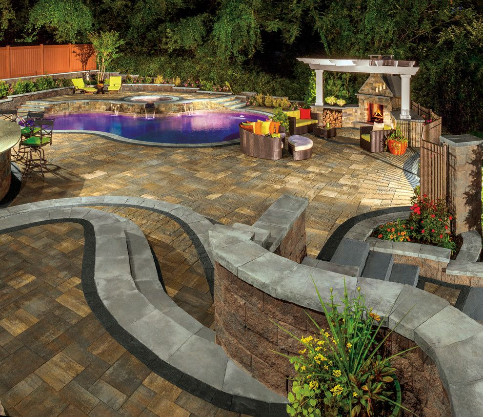 Nps Pool Supply for a Contemporary Spaces with a Stone Patio and Cambridge Pavingstones with Armortec by Cambridge Pavingstones with Armortec