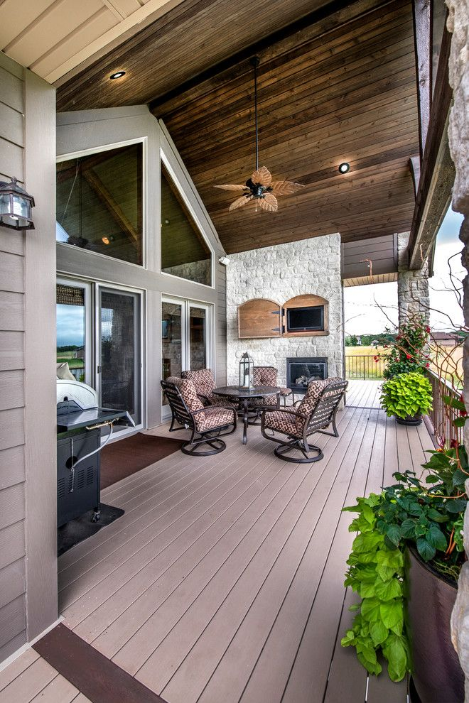 Contemporary Deck Omaha Oakwood Homes Omaha for a Craftsman Deck with a Wood Ceiling and Covered Bridge by Rezac