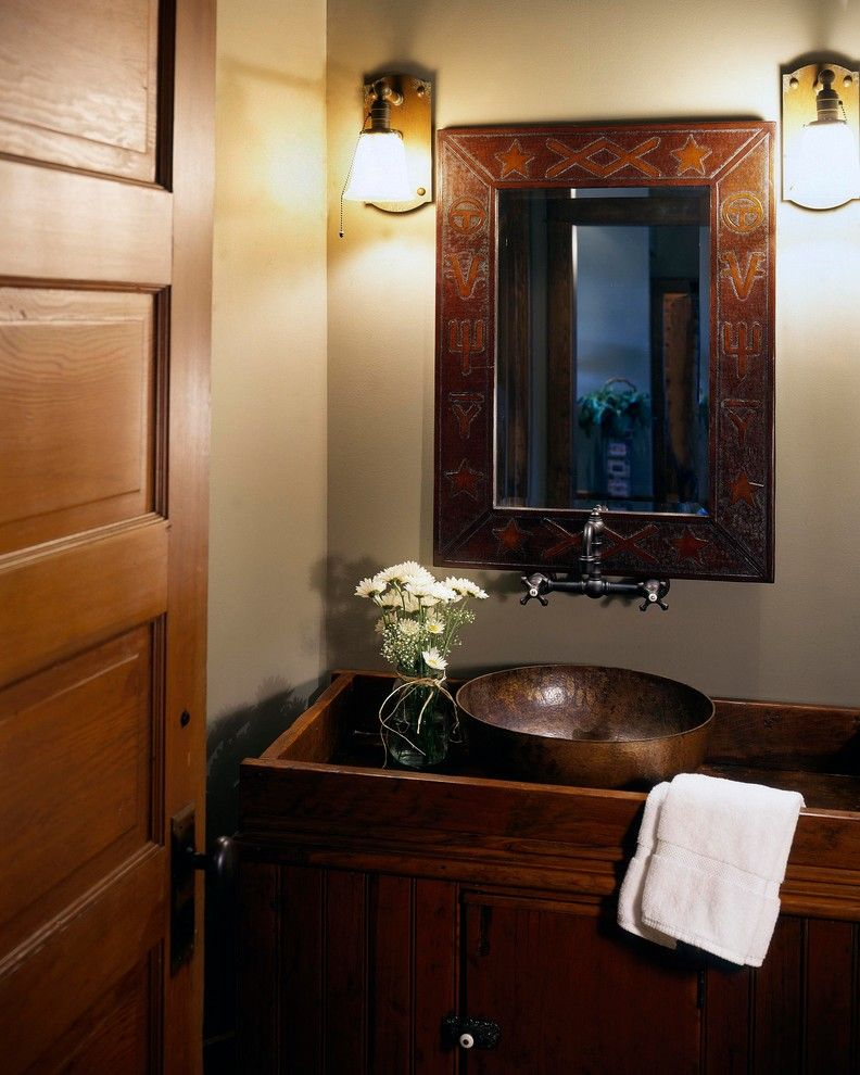 Oakwood Homes Omaha for a Rustic Powder Room with a Country and Rustic Homestead by Curt Hofer & Associates