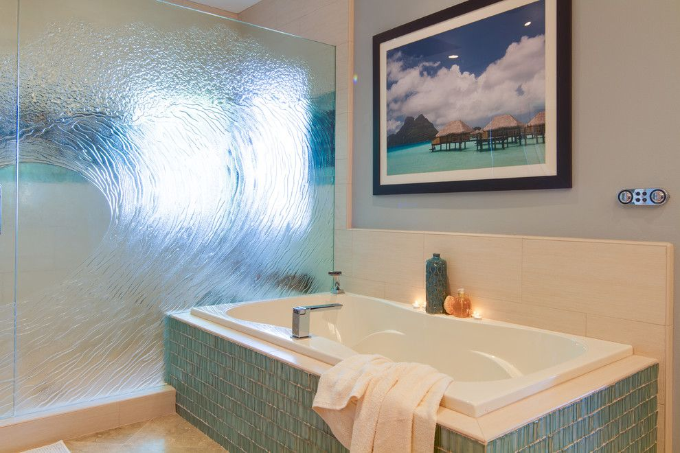 Oceanside Glass Tile for a Contemporary Bathroom with a 2013 Bathroom and Encinitas, California Bathroom Remodel by Remodel Works Bath & Kitchen