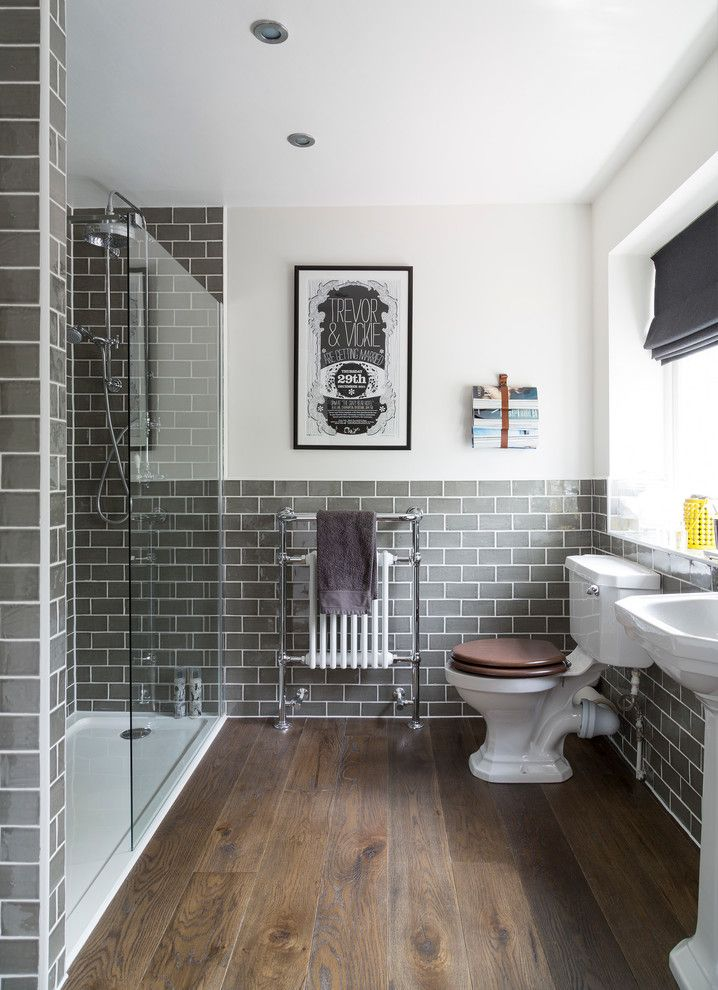 Oceanside Glass Tile for a Traditional Bathroom with a Toilet and Buckinghamshire Full House Refurbishment by Interior Therapy
