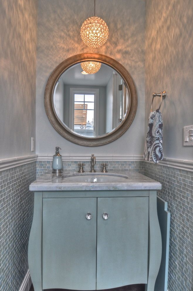 Oceanside Glass Tile for a Traditional Powder Room with a Tile Wainscot and Freestone Residence by Luann Development, Inc.