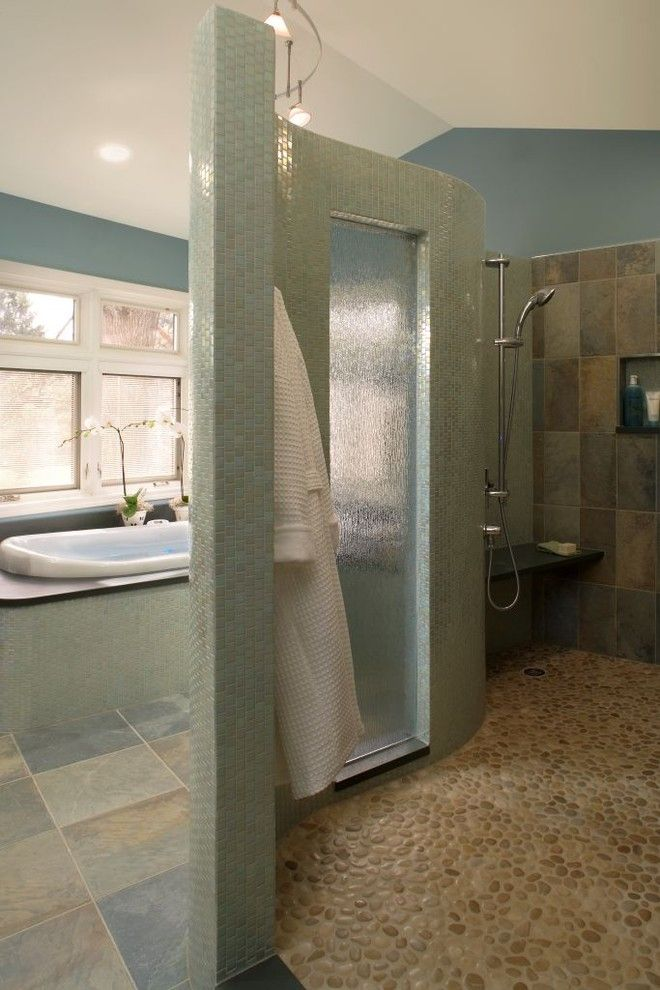 Oceanside Tile for a Contemporary Bathroom with a Ceiling Lighting and Seaside Retreat by Xstyles Bath + More