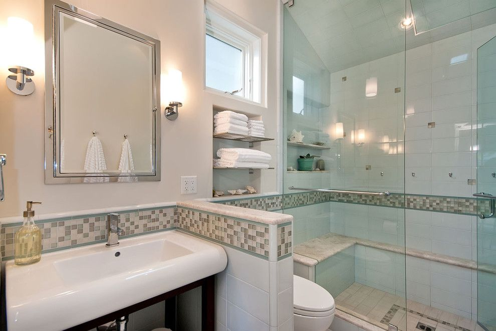 Oceanside Tile for a Contemporary Bathroom with a Chrome Shelf and Pony Wall to Make Toilet Private by Bill Fry Construction   Wm. H. Fry Const. Co.