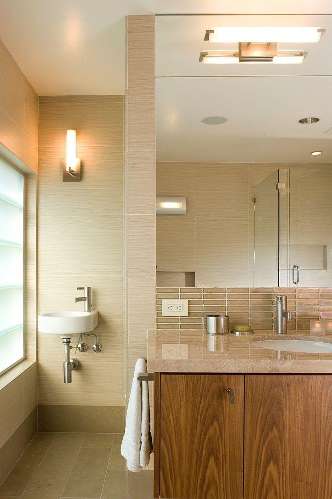 Oceanside Tile for a Contemporary Bathroom with a Glass Tile Backsplash and Bathroom Vanity by Ohashi Design Studio
