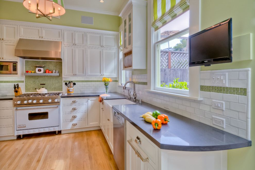 Oceanside Tile for a Contemporary Kitchen with a Apron Sink and Haight Ashbury by Mascheroni Construction