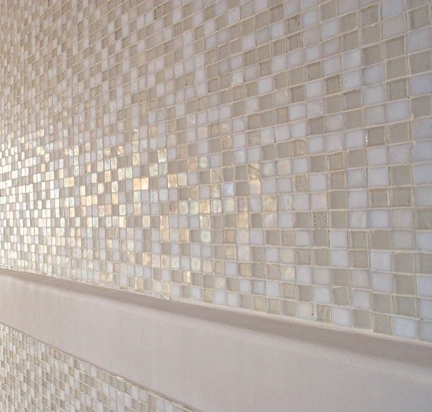 Oceanside Tile for a Contemporary Spaces with a Glass Tile and Oceanside Glasstile Tessera 1x1 Veil Close Up by Oceanside Glasstile