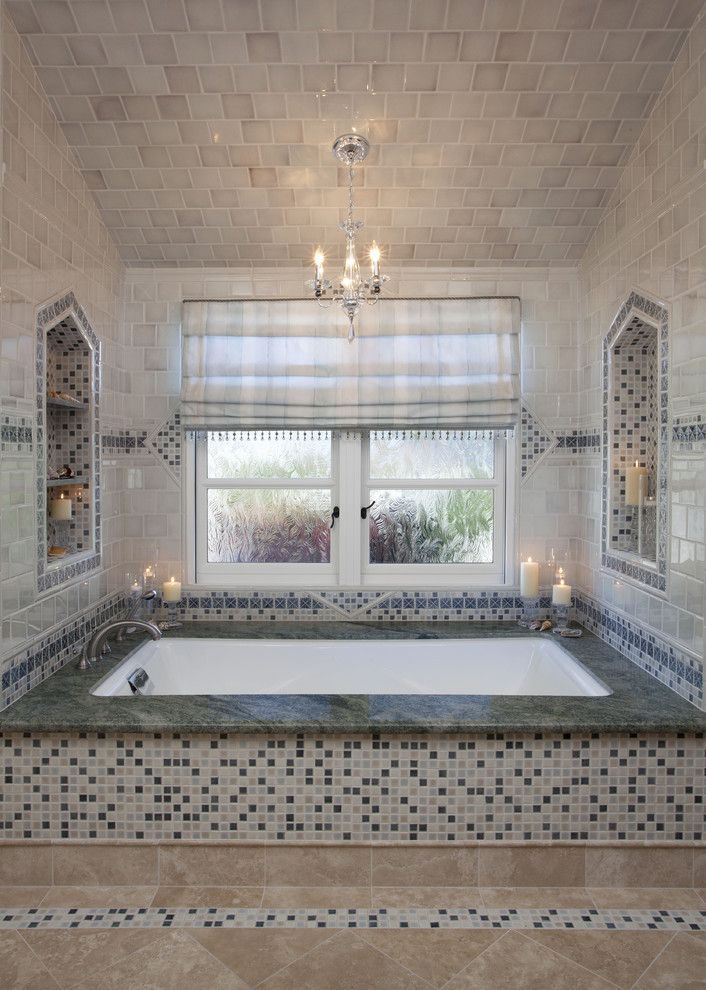 Oceanside Tile for a Traditional Bathroom with a Green Tile and Oceanside Master Bath by A.l. Interiors