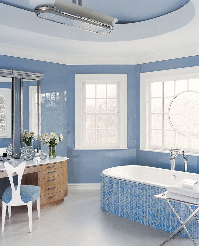 Oceanside Tile for a Traditional Bathroom with a Soaker Tub and Contemporary by Anthony Baratta Llc