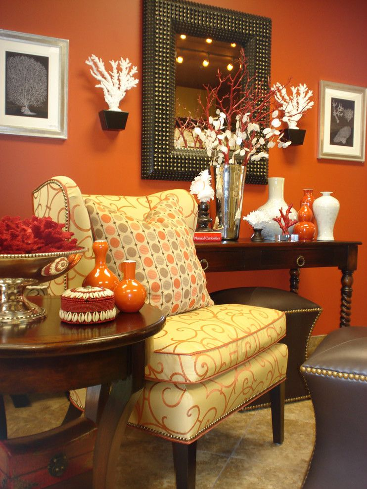 Ocher Color for a Contemporary Living Room with a Jordan Leather Ottomans and Zuniga Interiors by Zuniga Interiors
