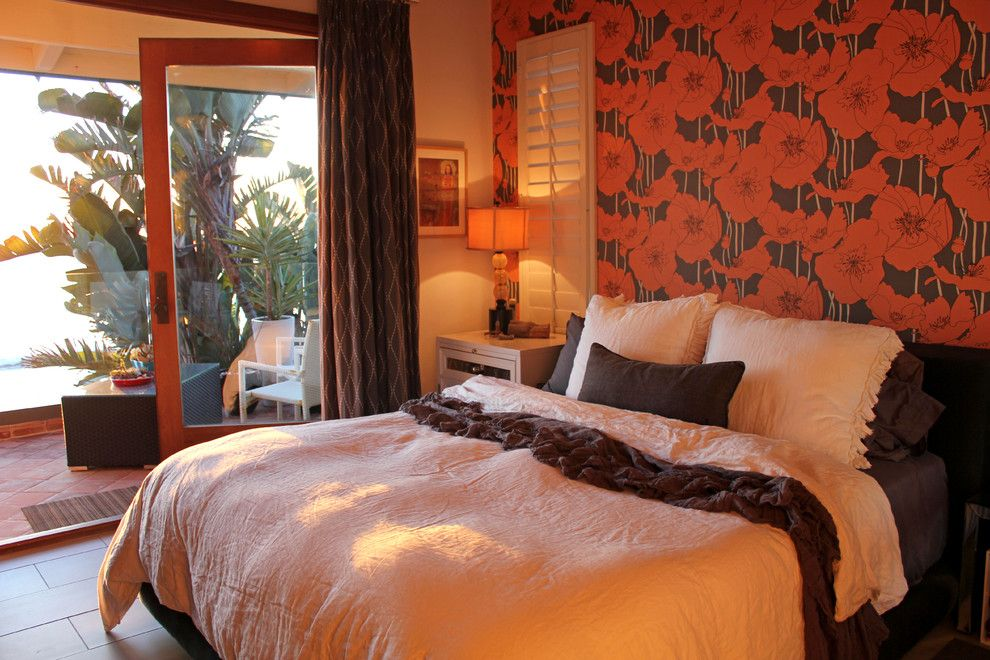 Ocher Color for a Eclectic Bedroom with a Wood Trim and Colorful Bedroom with an Ocean Breeze by Flea Market Sunday