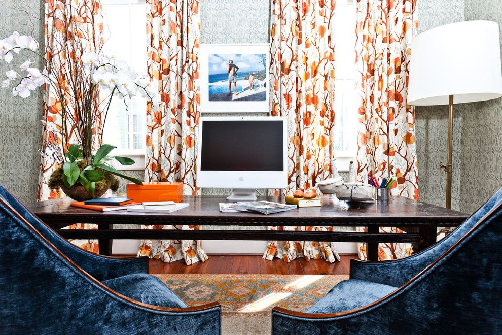 Ocher Color for a Eclectic Home Office with a Brass Floor Lamp and Island Dwelling by Cortney Bishop Design
