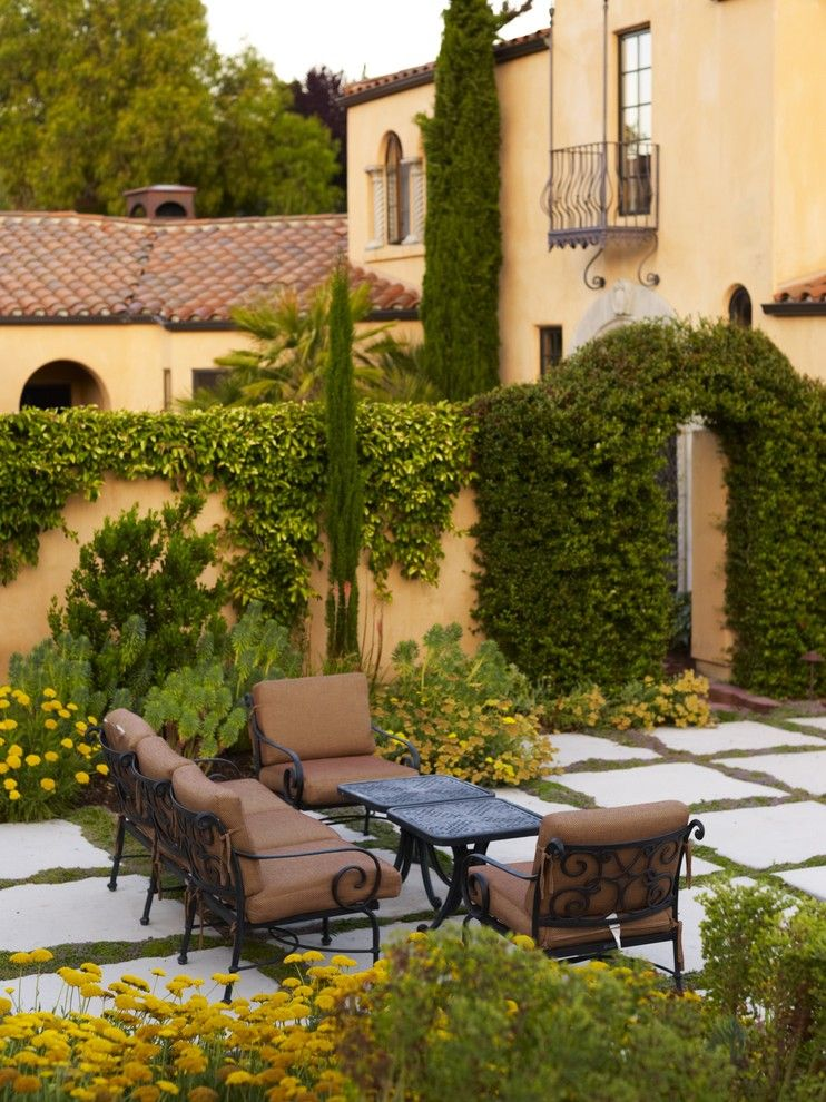 Ocher Color for a Mediterranean Landscape with a Outdoor Living and Avila Valley Estate by Jeffrey Gordon Smith Landscape Architecture