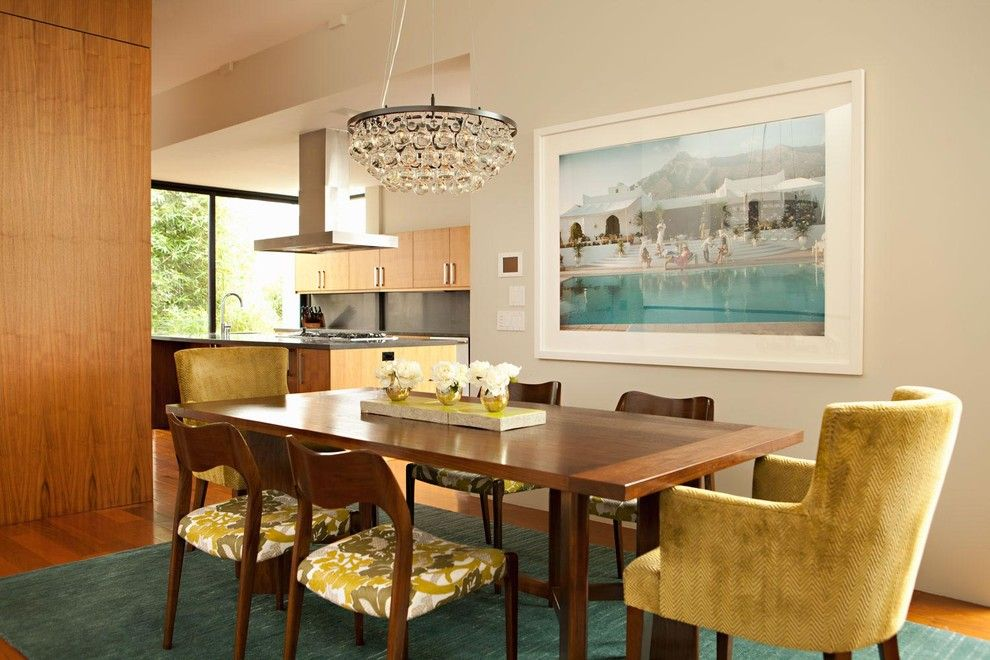 Ocher Color for a Modern Dining Room with a Green Accent Rug and Fisher Street Residence by Chris Barrett Design