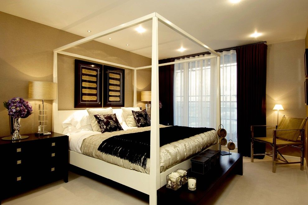 Ochre Color for a Contemporary Bedroom with a Bed Pillows and Master Bedroom by Design Od