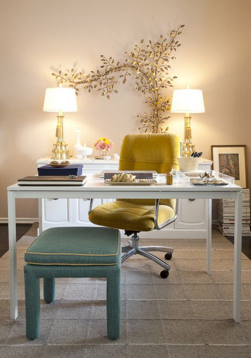 Ochre Color for a Shabby Chic Style Home Office with a Office Chair and Domicile Id by for People Design