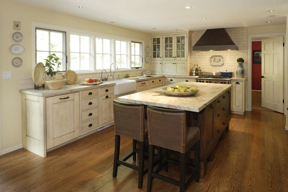 Ochre Color for a Traditional Kitchen with a Cream and Informal French Kitchen by Jenni Leasia Design