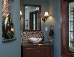 Ochre Color for a Traditional Powder Room with a Teal Walls and WHOLE HOUSE REMODEL in DELAFIELD WI by Urban Herriges & Sons, Inc.