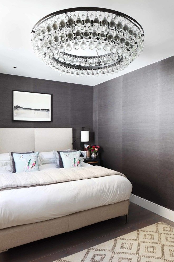 Ochre Lighting for a Contemporary Bedroom with a White Bed and London Mews House by Turner Pocock