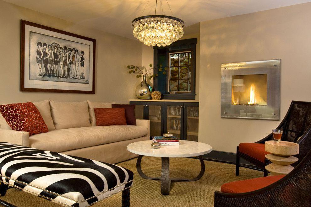 Ochre Lighting for a Contemporary Living Room with a Fireplace and Veranda House Hotel by Rachel Reider Interiors