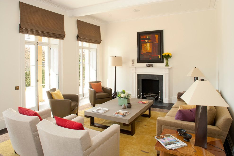 Ochre Lighting for a Contemporary Living Room with a Wood Trim and Private Residential  Kent Uk by Greenleaf Lighting Ltd