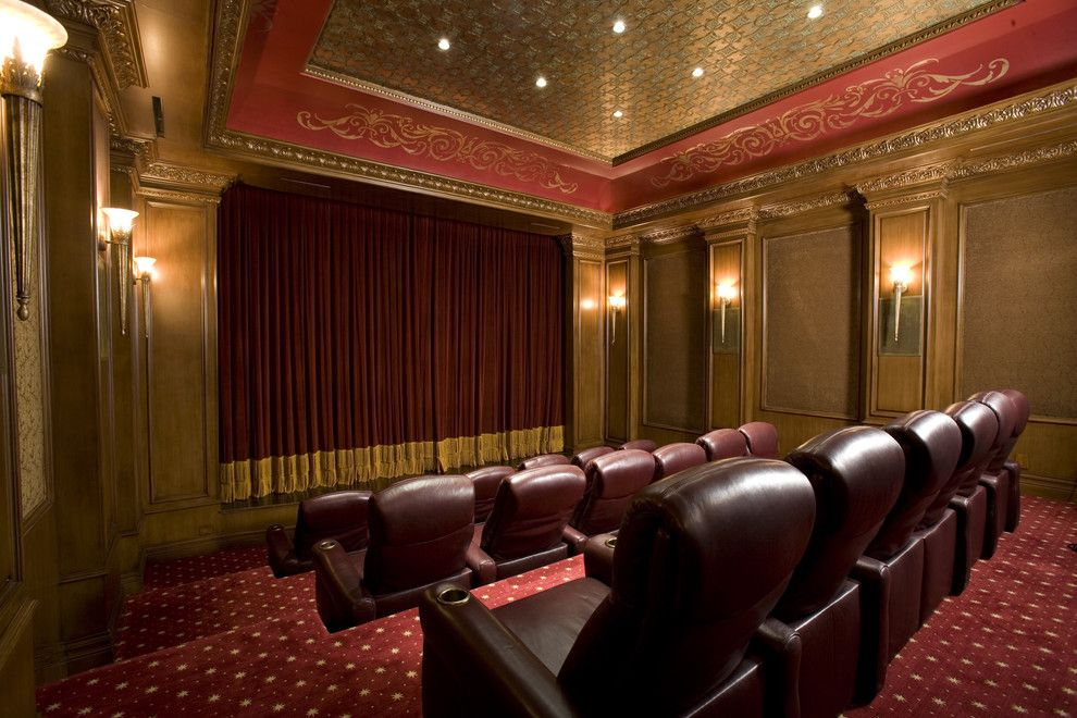 Old Orchard Theater for a Traditional Home Theater with a Dramatic and Home Theater by Macaluso Designs, Inc.