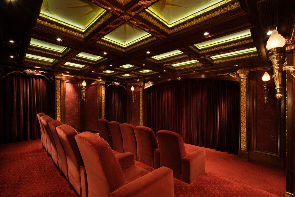 Old Orchard Theater for a Traditional Home Theater with a Recessed Lighting and Malinard Manor   Theatre by Cravotta Interiors