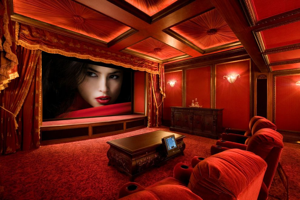 Old Orchard Theater for a Traditional Home Theater with a Red Armchair and Bliss Home Theaters & Automation, Inc.   Www.blisshta.com by Bliss Home Theaters & Automation, Inc