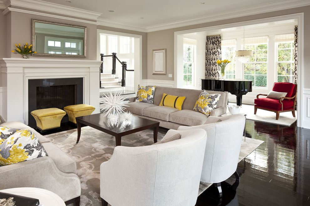 Oly Furniture for a Transitional Living Room with a Piano and Parkwood Road Residence Living Room 2 by Martha O'hara Interiors