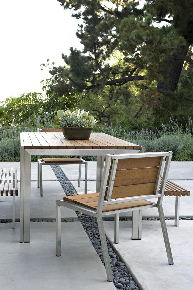 Oly Furniture for a Transitional Patio with a Dining Bench and Swallow Drive by Elizabeth Dinkel