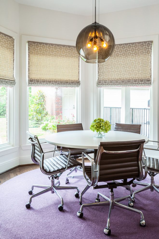 Oly Studio for a Contemporary Dining Room with a Pedestal Table and Tanglewood Residence by Laura U, Inc.