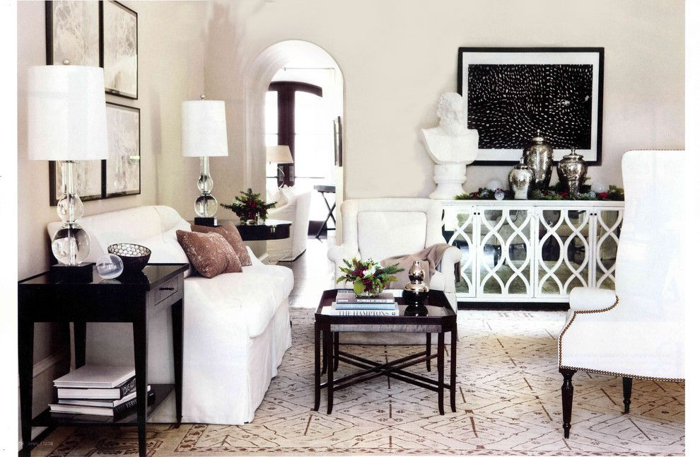Oly Studio for a Contemporary Living Room with a Tiled Floor and Buckhead Residence by Yvonne Mcfadden Llc