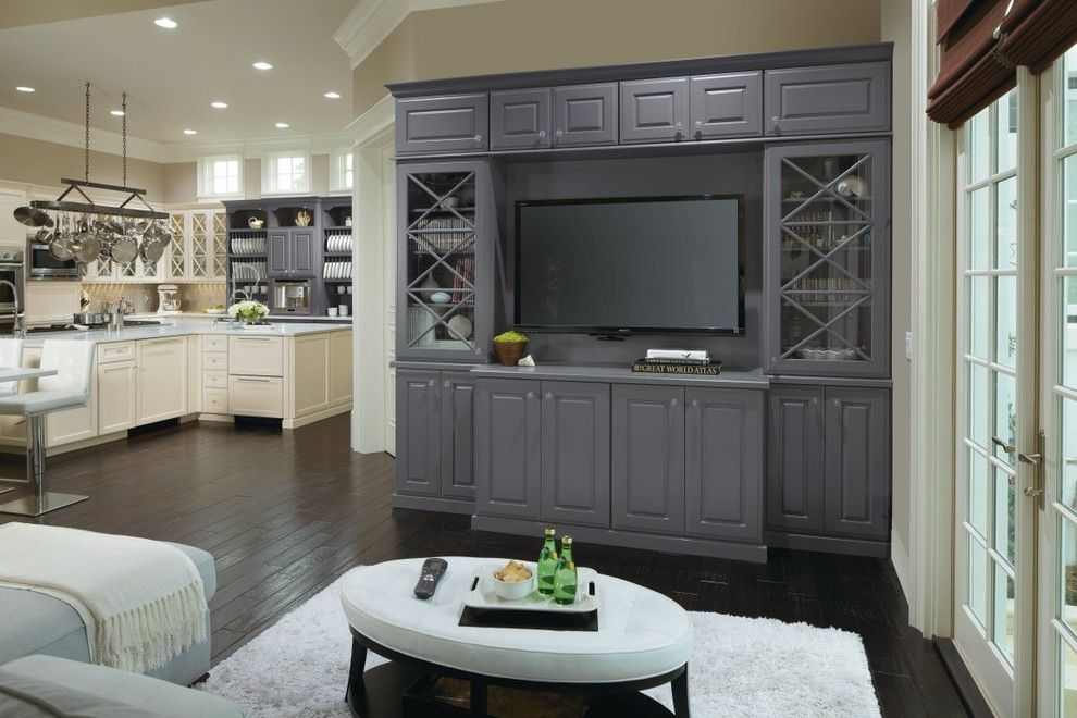 Omega Cabinetry for a  Family Room with a Glass Cabinet Doors and Omega Custom Entertainment Cabinets by Masterbrand Cabinets, Inc.