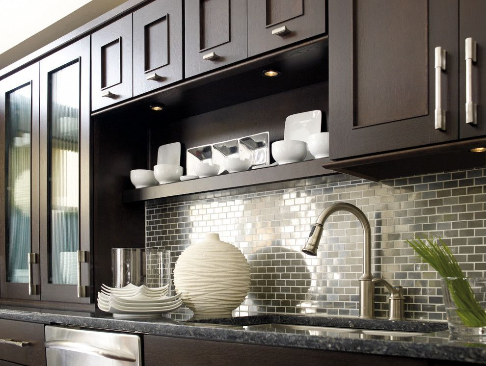 Omega Cabinetry for a Modern Spaces with a Dynasty Cabinets and Dynasty by Omega: Metro Quartersawn Oak Truffle by Masterbrand Cabinets, Inc.