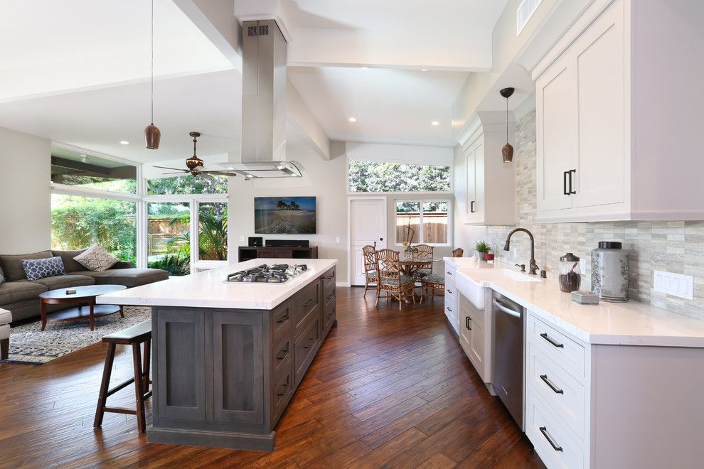 Omega Cabinetry for a Transitional Kitchen with a High Ceilings and