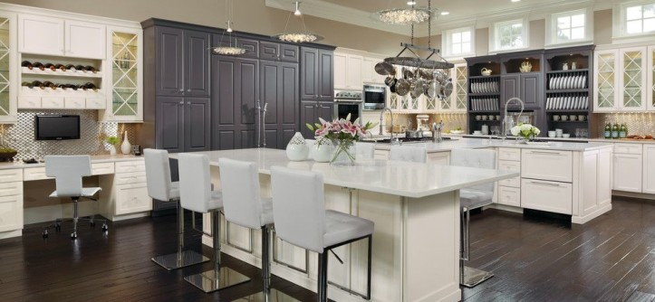 Omega Cabinets for a  Kitchen with a  and Custom Black & White Kitchen Cabinets by MasterBrand Cabinets, Inc.