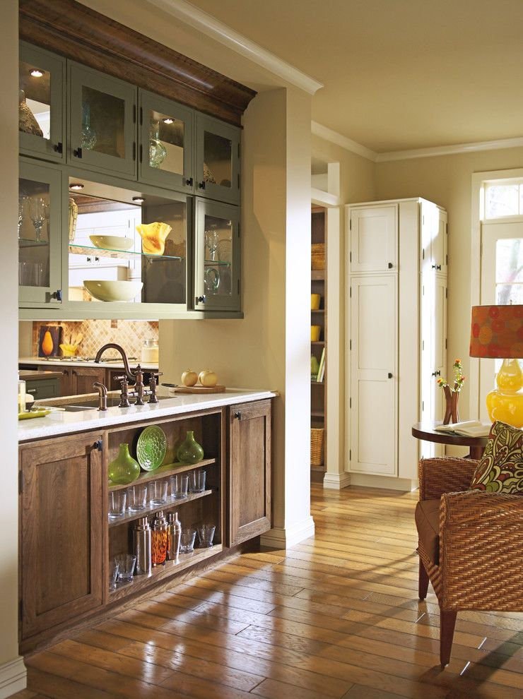 Omega Cabinets for a Rustic Kitchen with a Bar Area and Kitchen Cabinets by Capitol District Supply