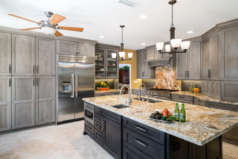 Omega Cabinets for a Transitional Kitchen with a Chandelier and Trabuco Canyon Kitchen - Jasper Hills Rd. by Sea Pointe Construction