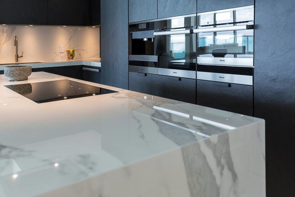 Omicron Granite for a Contemporary Spaces with a Condo and Luxury Miami Beach Project   Featuring Neolith and 2id Interiors by Omicron Granite & Tile