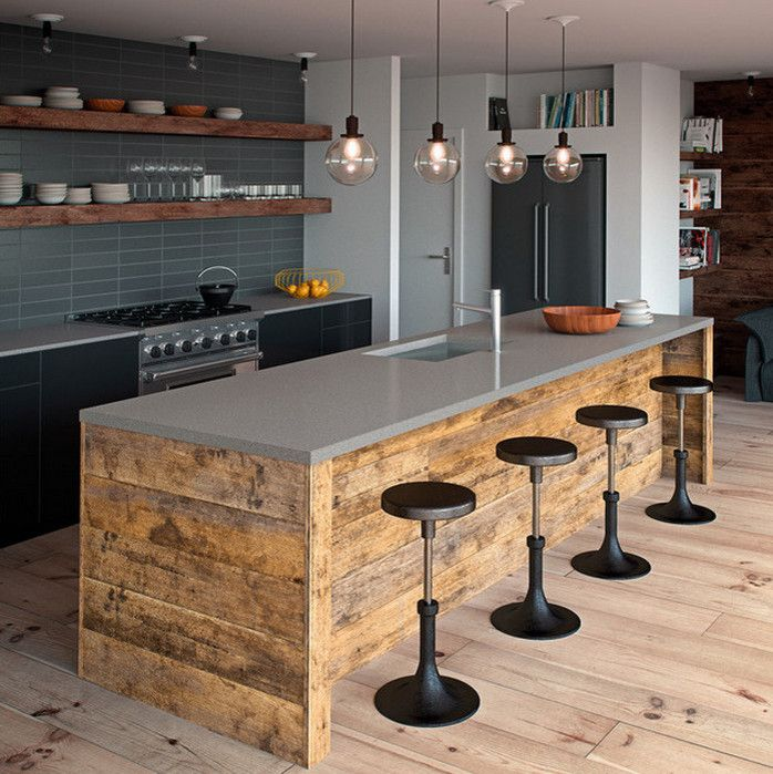 Omicron Granite for a Rustic Kitchen with a Wood Island and a Closer Look at Caesarstone by Omicron Granite & Tile