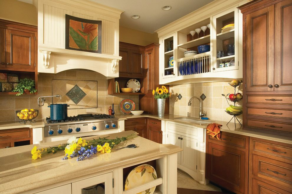 Opa Los Gatos for a Traditional Kitchen with a Biege Stone Backsplash and Kitchens by Kitchens of Los Gatos