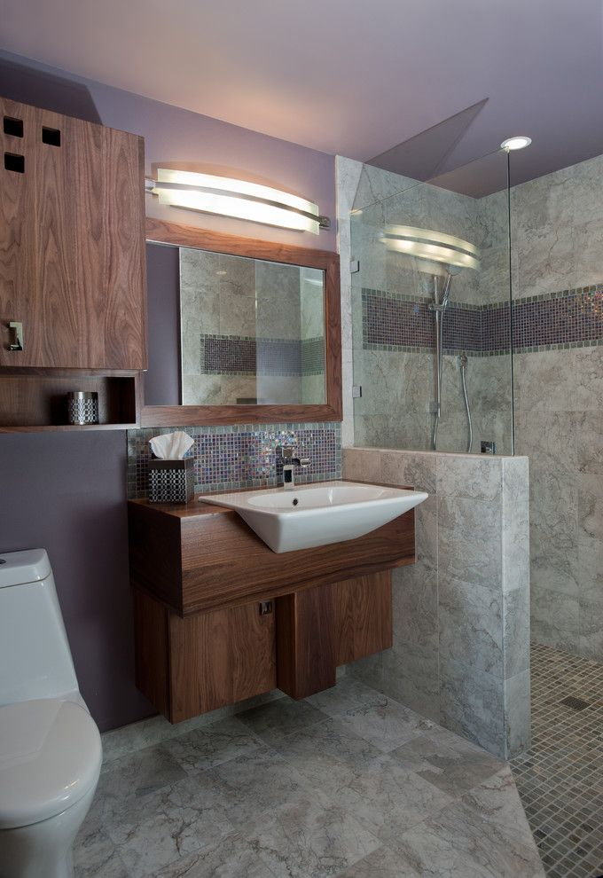 Oregon Tile and Marble for a Contemporary Bathroom with a Curbless Shower and Dundee Hills Guest Bath
