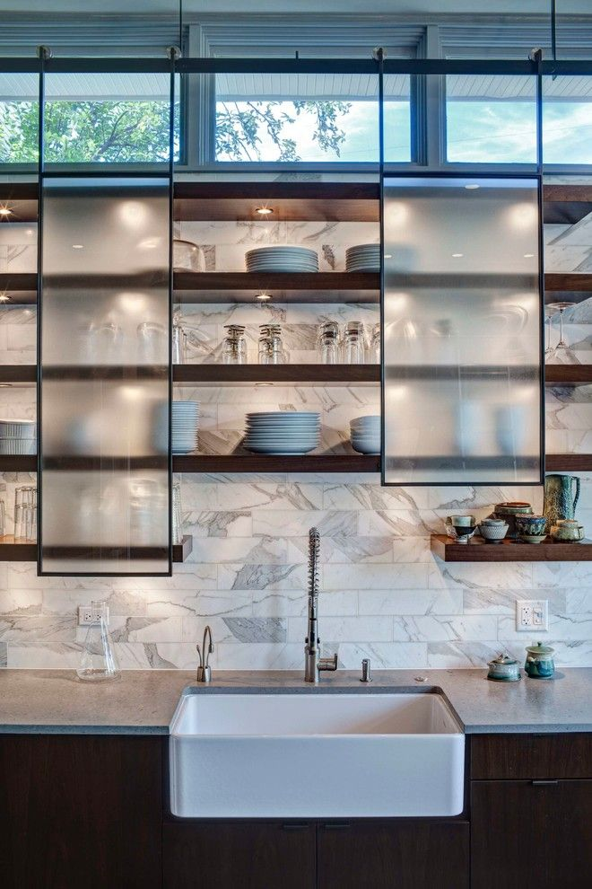 Oregon Tile and Marble for a Contemporary Kitchen with a Marble Backspalsh and Chicago Kitchen by Fricano Construction Co