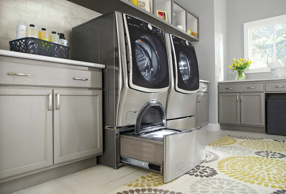 Oregon Tile and Marble for a Contemporary Laundry Room with a Floral Rug and Lg Electronics by Lg Electronics