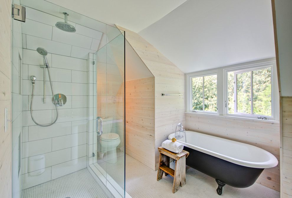 Oregon Tile and Marble for a Farmhouse Bathroom with a Vintage Style Tub Filler and Modern Farmhouse by Hammer & Hand