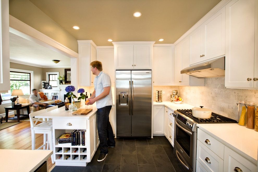 Oregon Tile and Marble for a Traditional Kitchen with a Off White and Craftsman Kitchen by Introspecs Llc